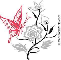 borboleta, ilustração, flor