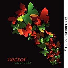 borboleta, -, ilustração, vetorial, desenho, fundo, pretas