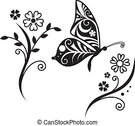 borboleta, inwrought, flor, silueta, ramo