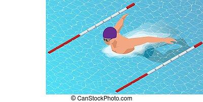 borboleta, isometric, nadadores, lanes., estilo, diferente, esportes, fundo, macho, natação
