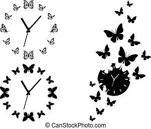 borboleta, jogo, clocks, vetorial