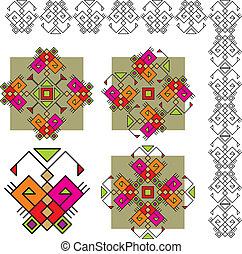 borboleta, jogo, ornamentos, étnico