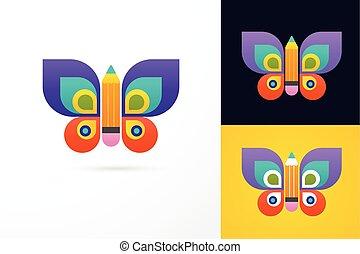 borboleta, lápis, -, educação, aprendizagem, ícone