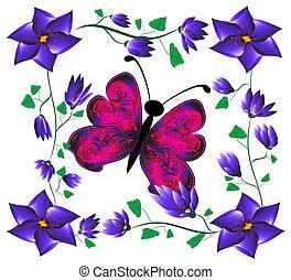 borboleta, ligado, flores