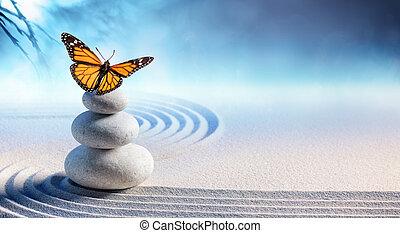 borboleta, ligado, spa, massagem, pedras, em, jardim zen
