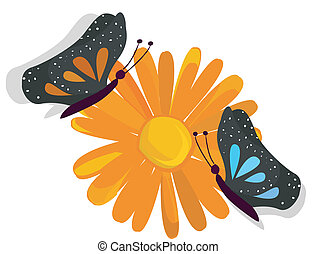 borboleta, ligado, um, flor, fundo