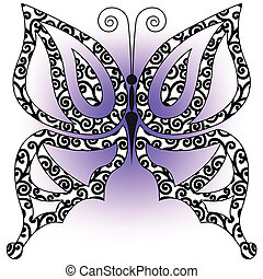 borboleta, ligado, um, lilás, fundo