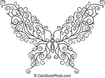 borboleta, linha arte
