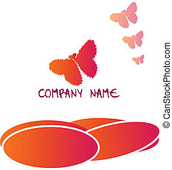 borboleta, logotipo,  -, corações