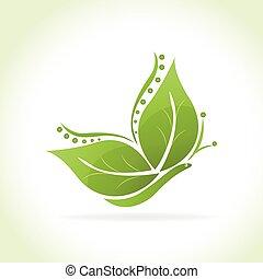 borboleta, logotipo, verde, folheia