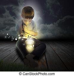 borboleta, menino, noturna, glowing, criança, erro