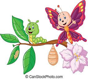 borboleta, metamorfose, caricatura