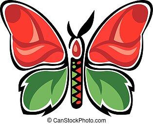 borboleta, metamorfose, fantástico, rose., butterfly.