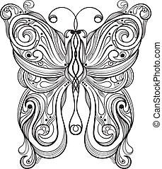borboleta, monocromático, vetorial