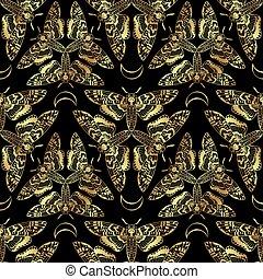borboleta, mortes encabeçam, falcão, moth, seamless, padrão