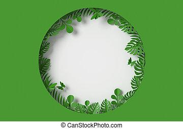 borboleta, mosca, cortando, folhas, fazendo, formulou, fundo, forma, papel, verde, círculo, path., branca, 3d