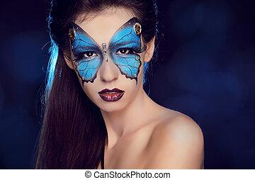 borboleta, mulher, arte, fazer, maquilagem, cima, rosto, moda, portrait.