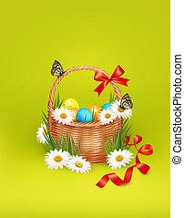borboleta, ovos, flowers., vetorial, fundo, cesta, páscoa