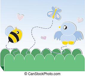 borboleta, pássaro, abelha