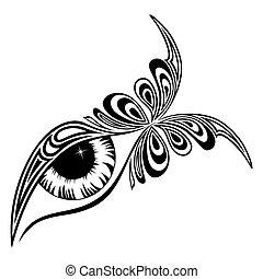 borboleta, padrão, olho, human
