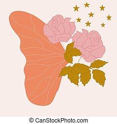 borboleta, padrão, seamless, desenho, asa, rosas cor-de-rosa