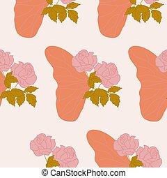 borboleta, padrão, seamless, desenho, metade, asa, rosas cor-de-rosa