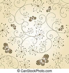 borboleta, padrão, seamless, floral