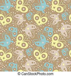 borboleta, padrão, seamless