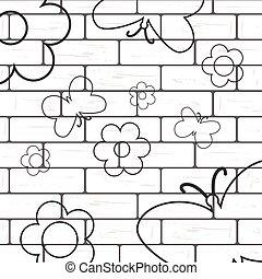 borboleta, parede, flover, fundo, tijolo branco