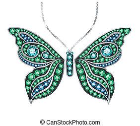 borboleta, pedra preciosa