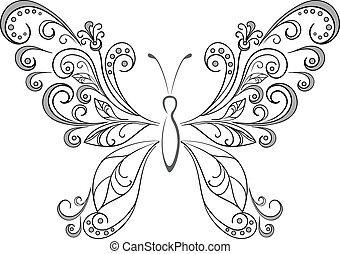 borboleta, pretas, silhuetas