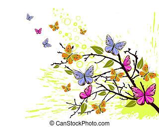 borboleta, ramo
