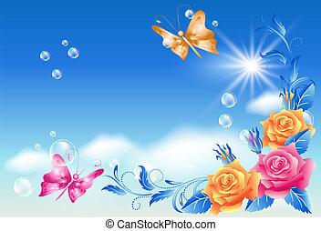borboleta, rosas, céu