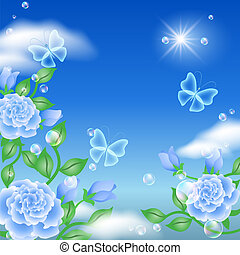 borboleta, rosas