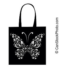 borboleta, saco, shopping, desenho, vindima