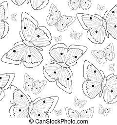 borboleta, sketch., padrão, seamless, ilustração, mão, experiência., vetorial, pretas, branca, desenho