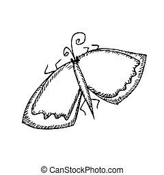 borboleta, sketch., vetorial, isolatrd, branca, illustration.