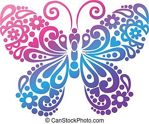 borboleta, swirly, vetorial, silueta