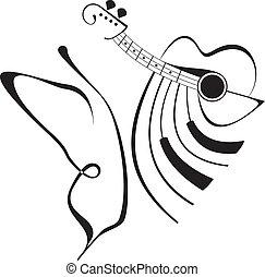 borboleta, tatuagem, música