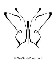borboleta, tatuagem, -, mariposa