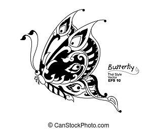 borboleta, thai., estilo, vetorial, linha