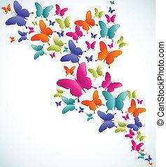 borboleta, verão, respingo