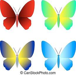 borboleta, vetorial, cobrança, ícones