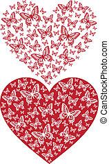 borboleta, vetorial, coração vermelho