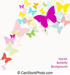 borboleta, vetorial, fundo
