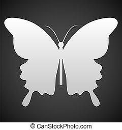 borboleta, vetorial, ou, fundo, ícone