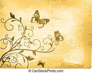 borboleta, vindima, fundo