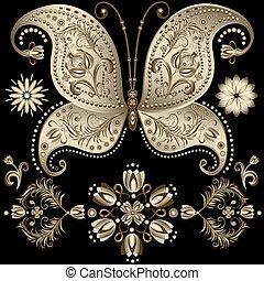 borboleta, vindima, ouro