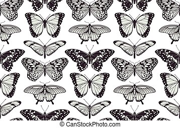 borboleta, vindima, seamless, fundo