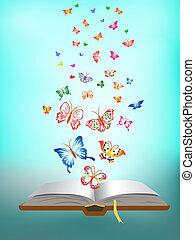 borboleta, voando, ao redor, a, livro